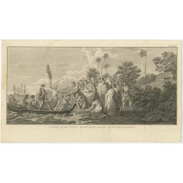 Landing op het eiland Middelburg (..) - Cook (c.1801)