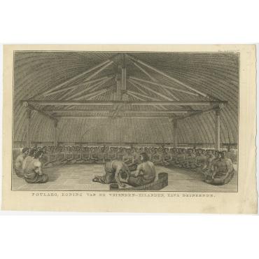 Poulaho, Koning van de Vrienden-Eilanden, Kava drinkende - Cook (c.1801)