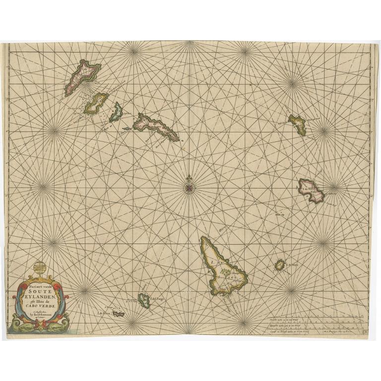 Pascaert van de Soute Eylanden ofte Ilhas de Cabo Verde - Lootsman (c.1670)
