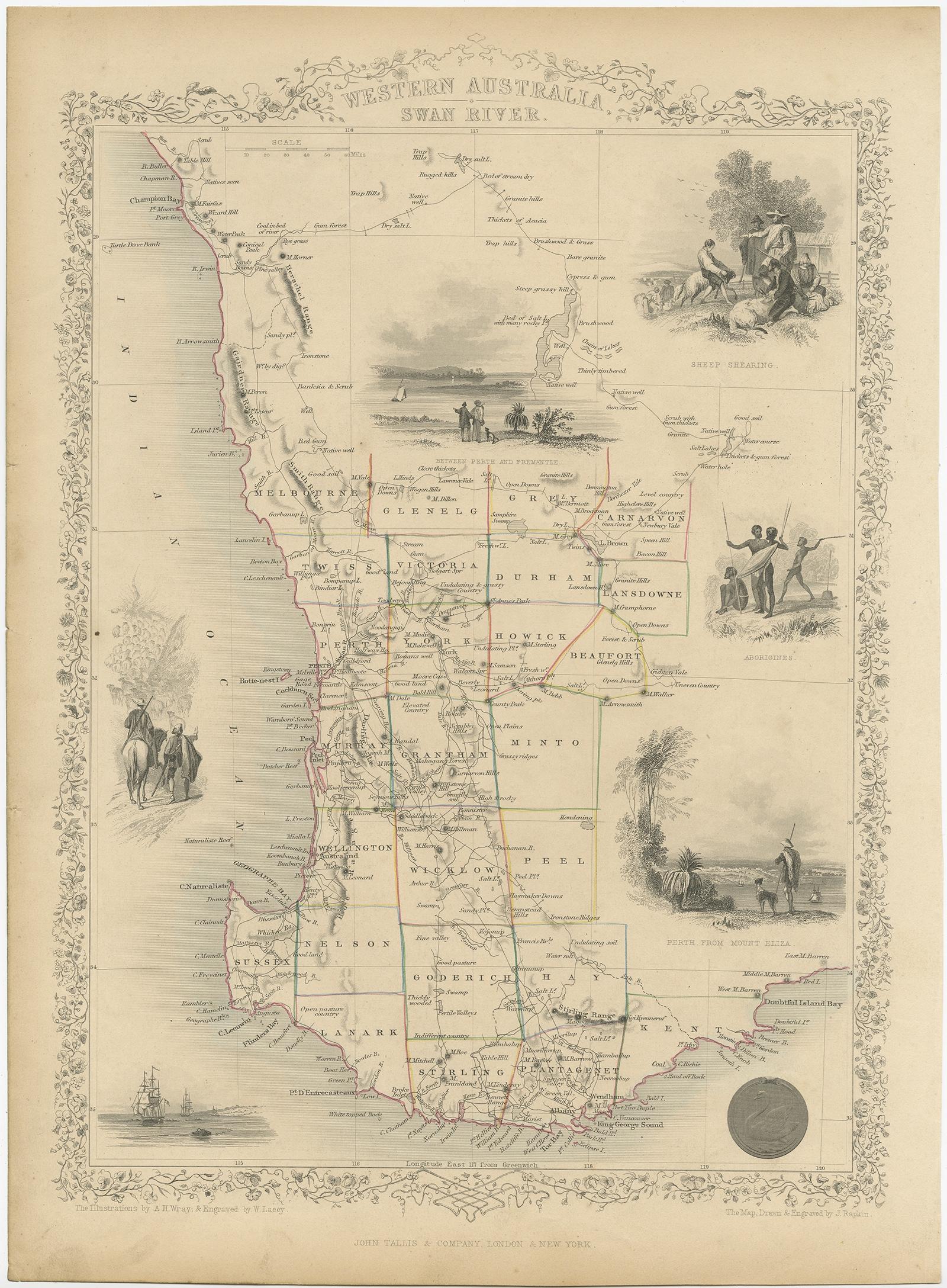Australia Map 1850.Western Australia Swan River Tallis C 1850