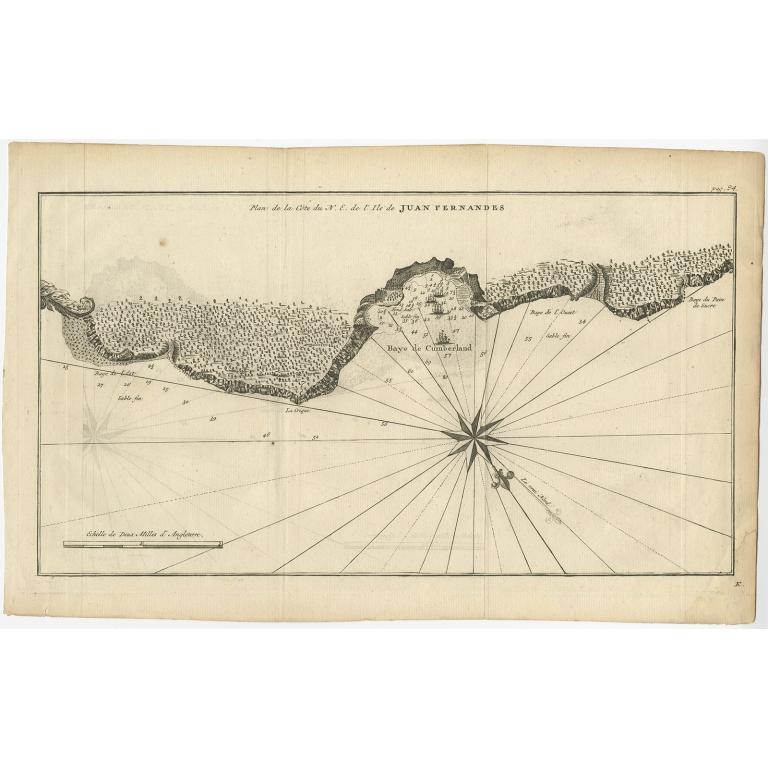 Plan de la Côte du N.E. de l 'Ile de Juan Fernandes - Anson (c.1745)