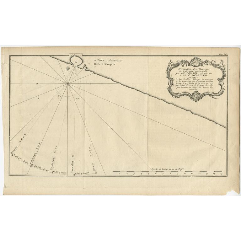 Disposition des Vaisseaux (..) Acapulco (..) - Anson (1742)