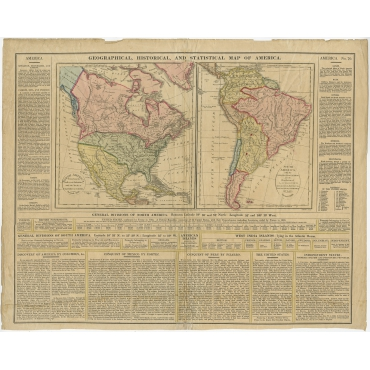 Geographical, Historical and Statistical Map of America - Walker (1828)