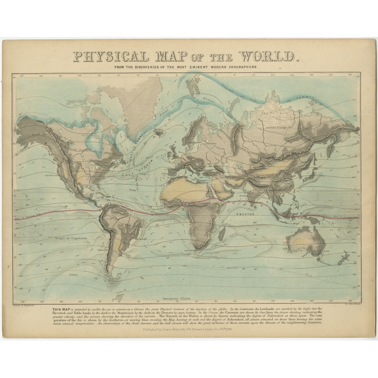Physical Map of the World - Reynolds (1849)