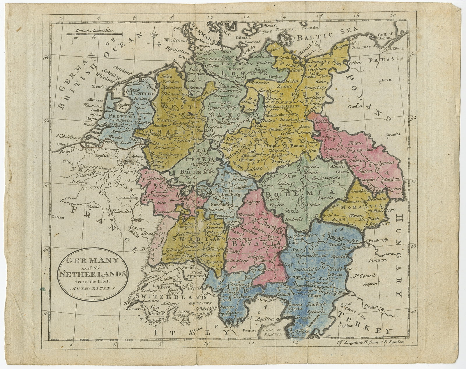 Map Of Germany And The Netherlands.Germany And The Netherlands Guthrie C 1785