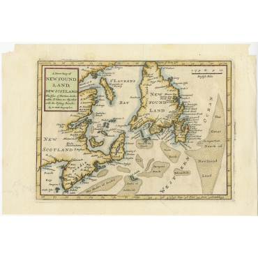A New Map of Newfoundland, New Scotland (..) - Moll (1708)