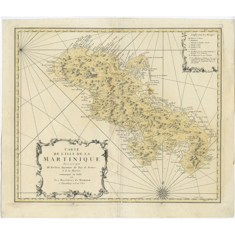Carte de l'Isle de la Martinique - Homann (1762)