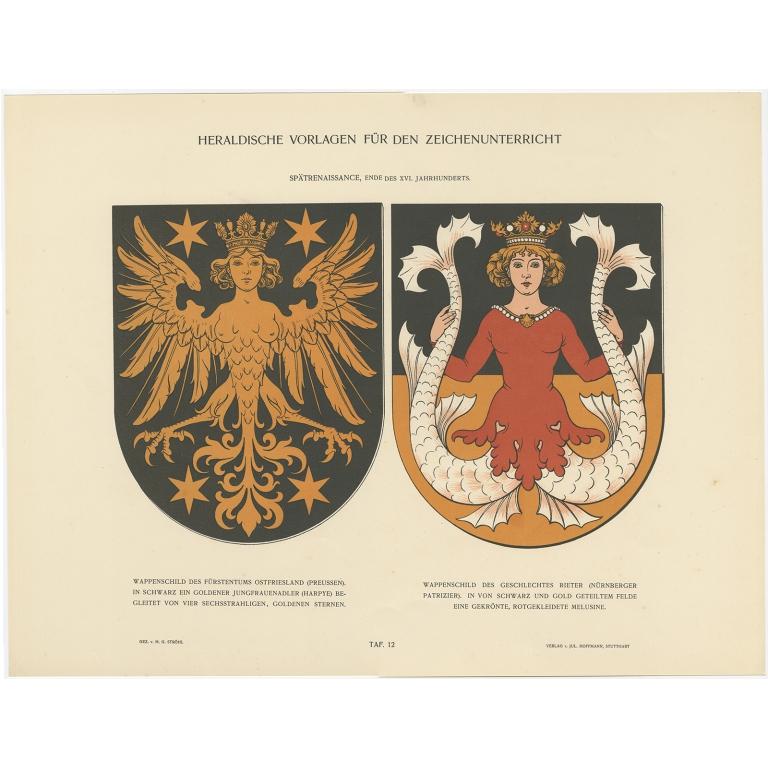 Taf 12. Wappenschild des Fürstentums Ostfriesland (..) - Ströhl (1910)
