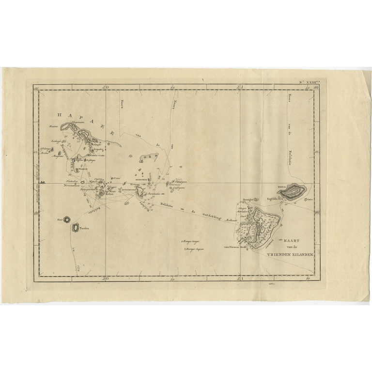 Kaart van de Vrienden Eilanden - Cook (1803)