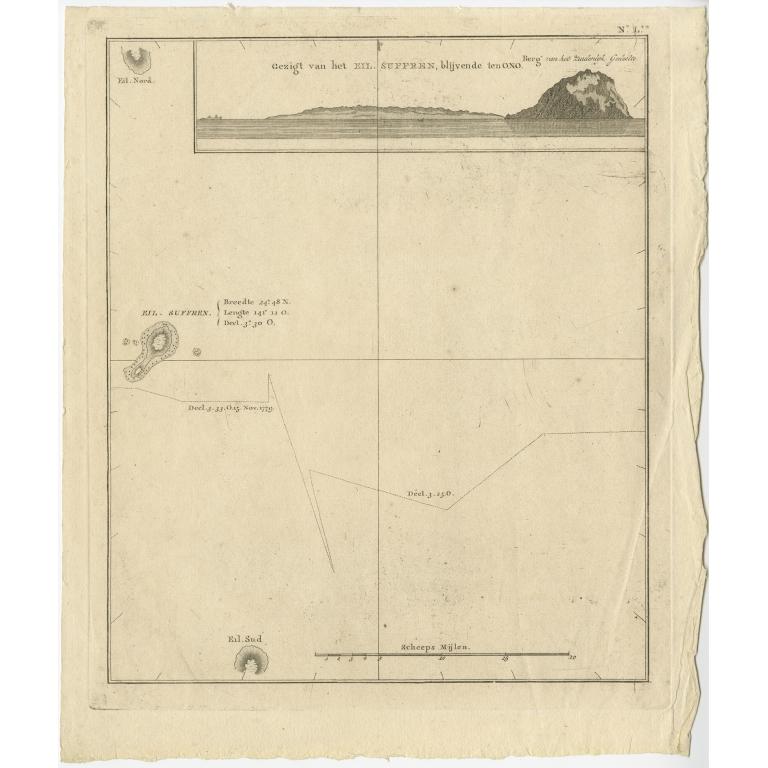 Gezigt van het Eil. Suffren (..) - Cook (1803)