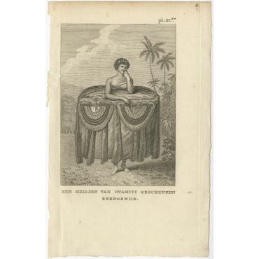 Een Meisjen van Otahiti geschenken brengende - Cook (1803)