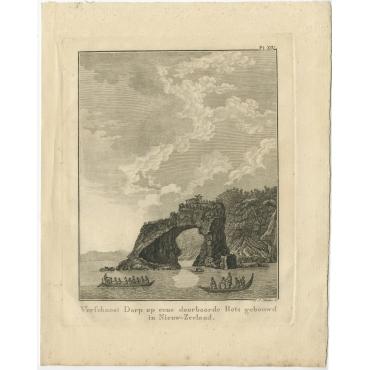 Verschanst Dorp op eene doorboorde Rots (..) - Cook (1803)