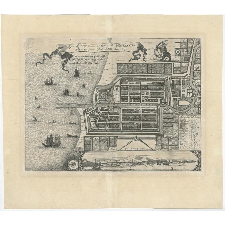 Ware Affbeeldinge wegens het Casteel ende Stadt Batavia - Montanus (c.1669)