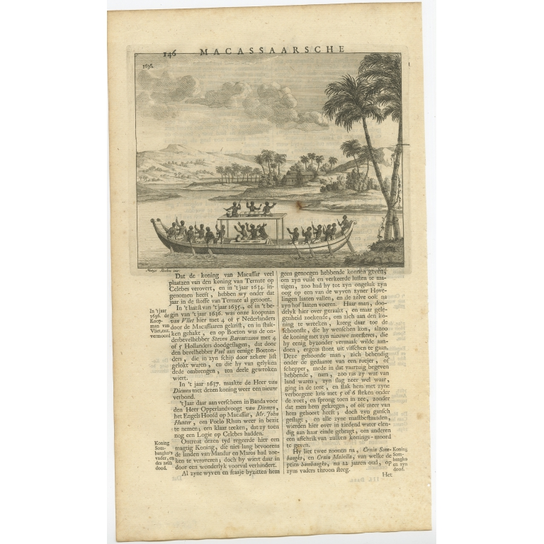 Untitled Print of a Boat near Macassar - Valentijn (1726)