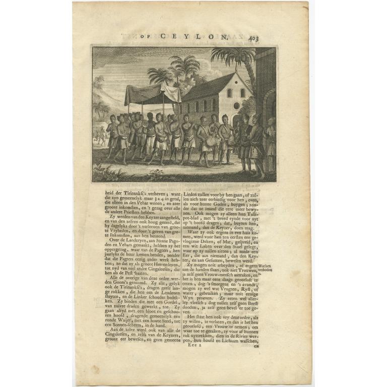 Untitled Print of Musicians on Ceylon - Valentijn (1726)