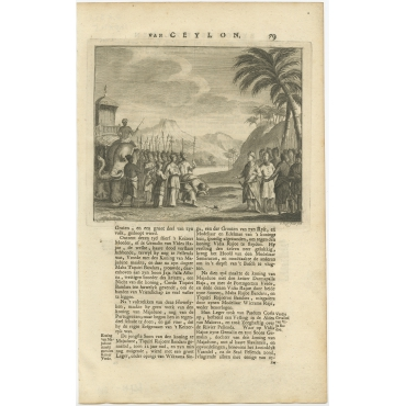 Untitled Print of Figures and an Elephant on Ceylon - Valentijn (1726)