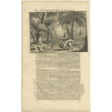 Untitled Print of the Princess taken by a lion - Valentijn (1726)