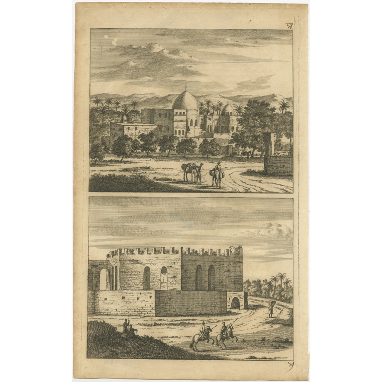 Untitled Print with views of Cairo - De Bruyn (1698)