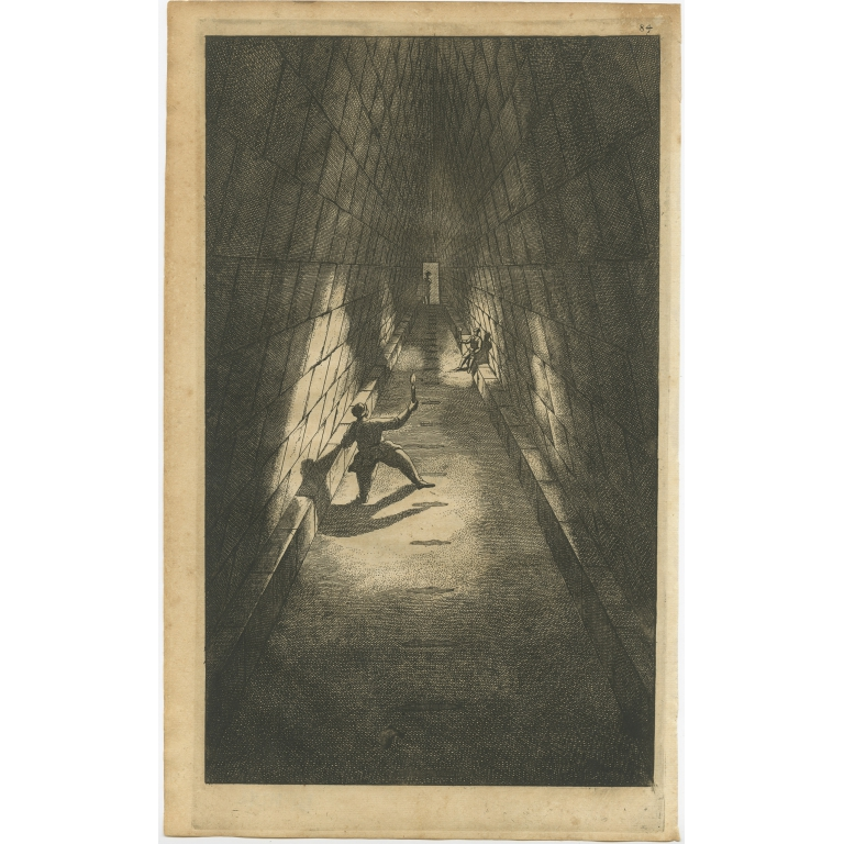 Untitled Print of Figures exploring a Pyramid - De Bruyn (1698)