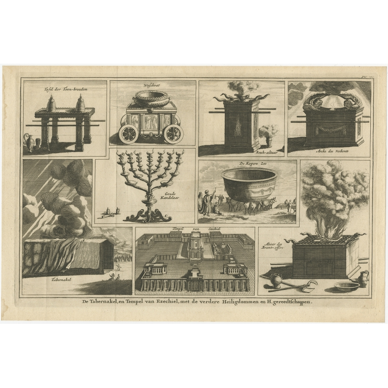 De Tabernakel, en Tempel van Ezechiel (..) - Halma (1717)