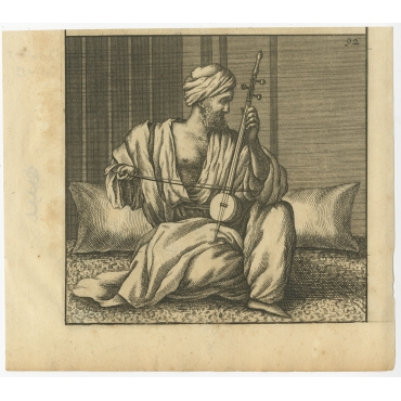 Untitled Print of a Man playing an Instrument - De Bruyn (1698)