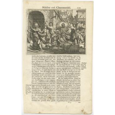 Untitled Print of the Siege of Calicut - Baldaeus (1672)