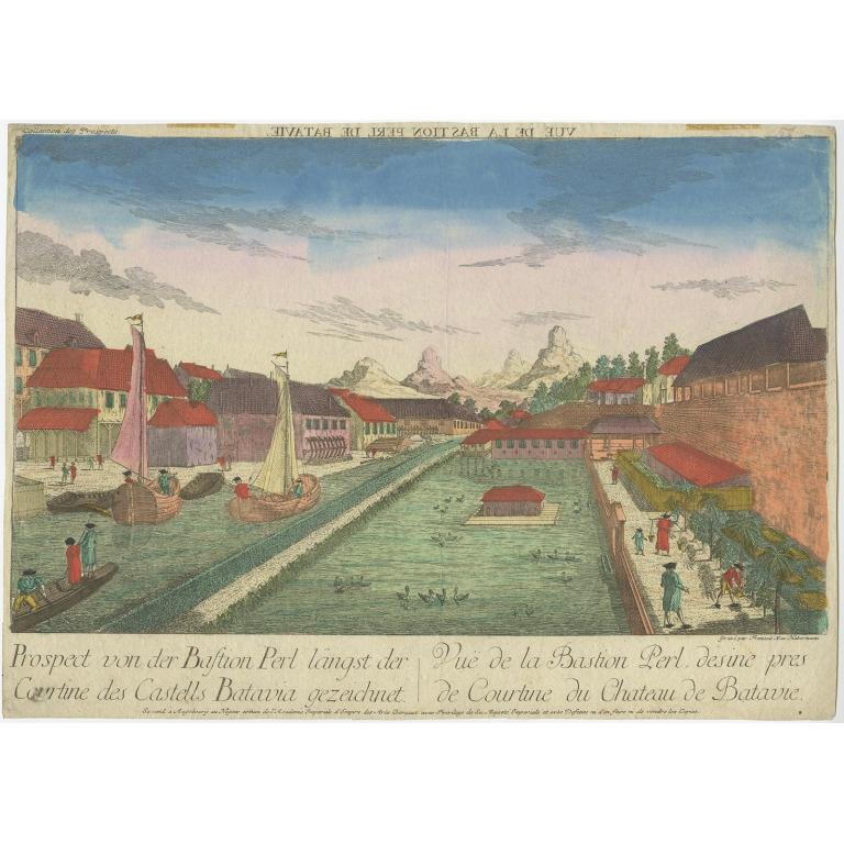 Prospect von der Bastion Perl langst der Courtine des Castells Batavia - Habermann (1770)