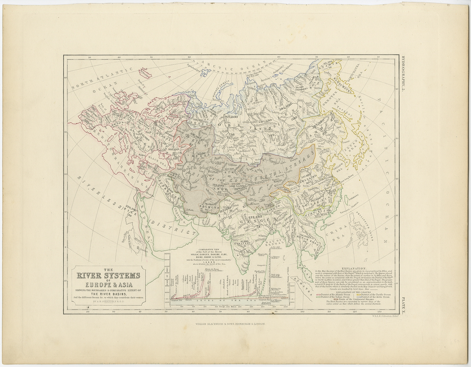 The River Systems of Europe & Asia - Johnston (c.1850)