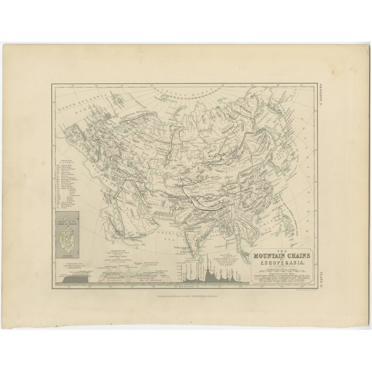 The Mountain Chains of Europe & Asia - Johnston (c.1850)