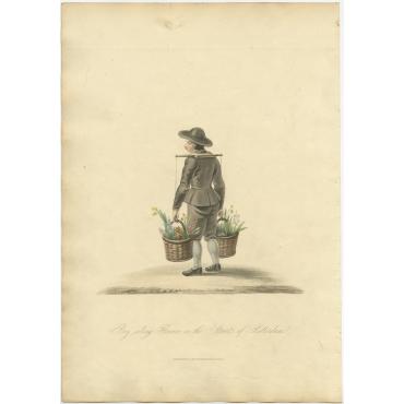 Boy selling flowers - Ackermann (1817)