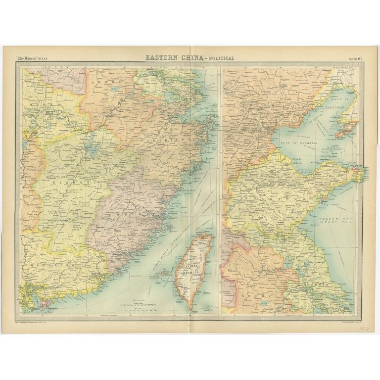Eastern China - Political Map - Bartholomew (1922) on