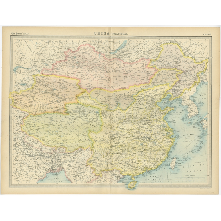Antique Political Map Of China By Bartholomew 1922