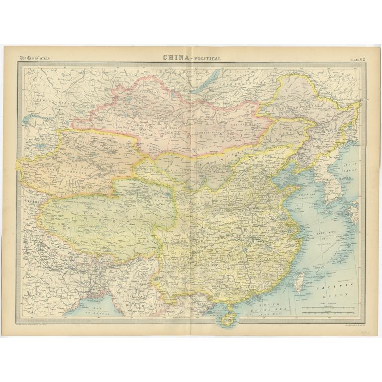 China - Political Map - Bartholomew (1922) on