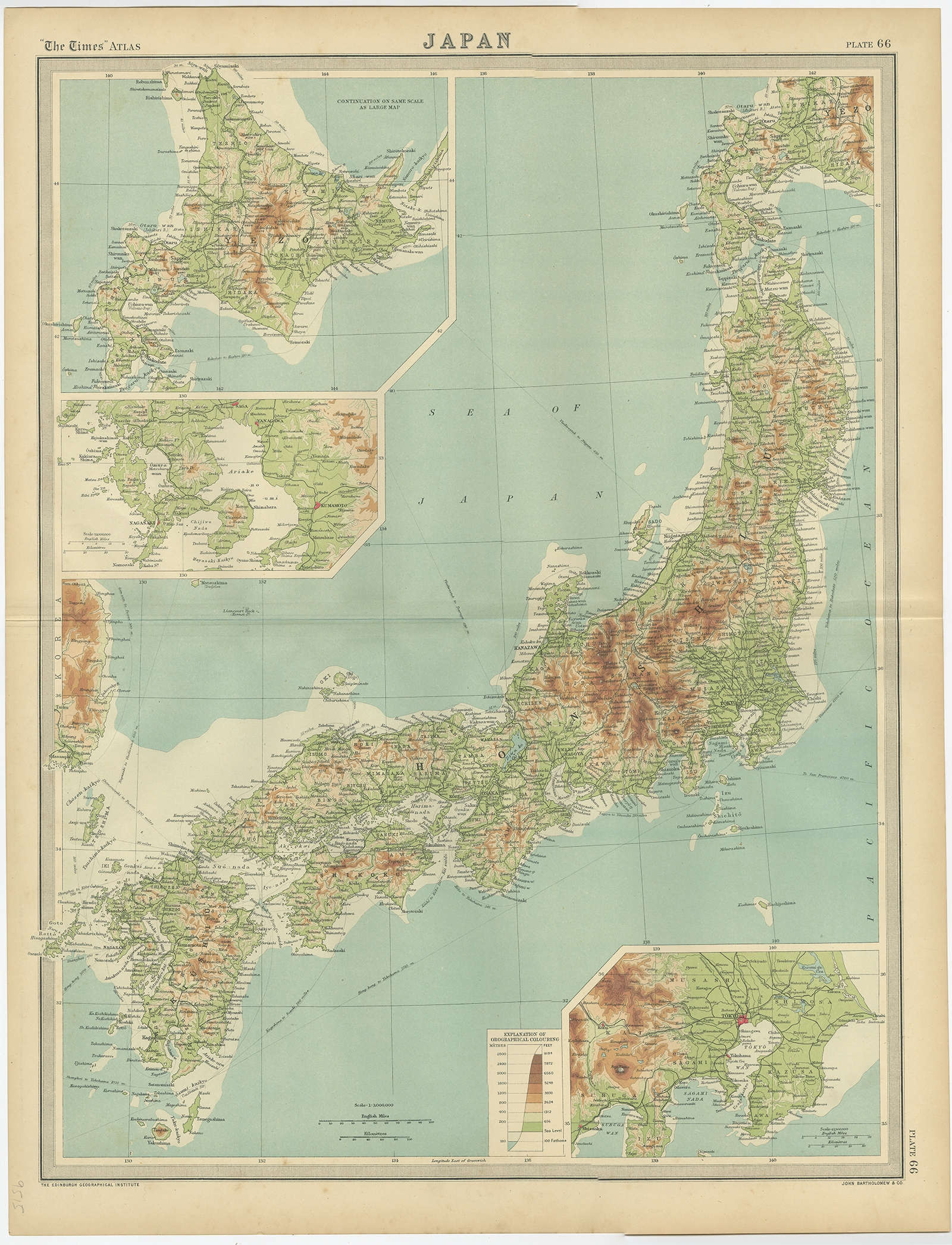 Antique Map Of The Region Of Tokyo And Nagasaki By Bartholomew 1922