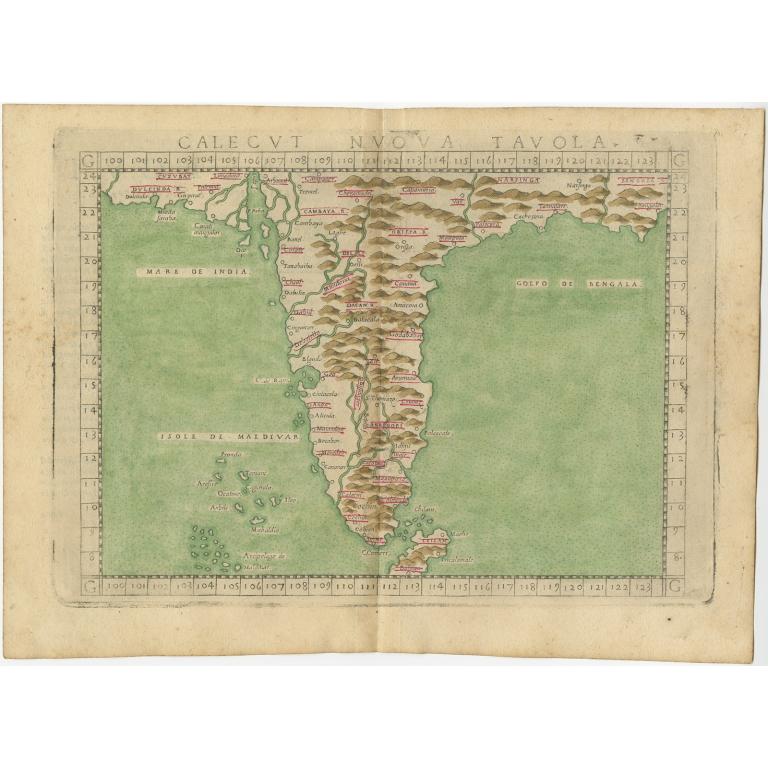 Calecut Nuova Tavola - Ruscelli (c.1574)