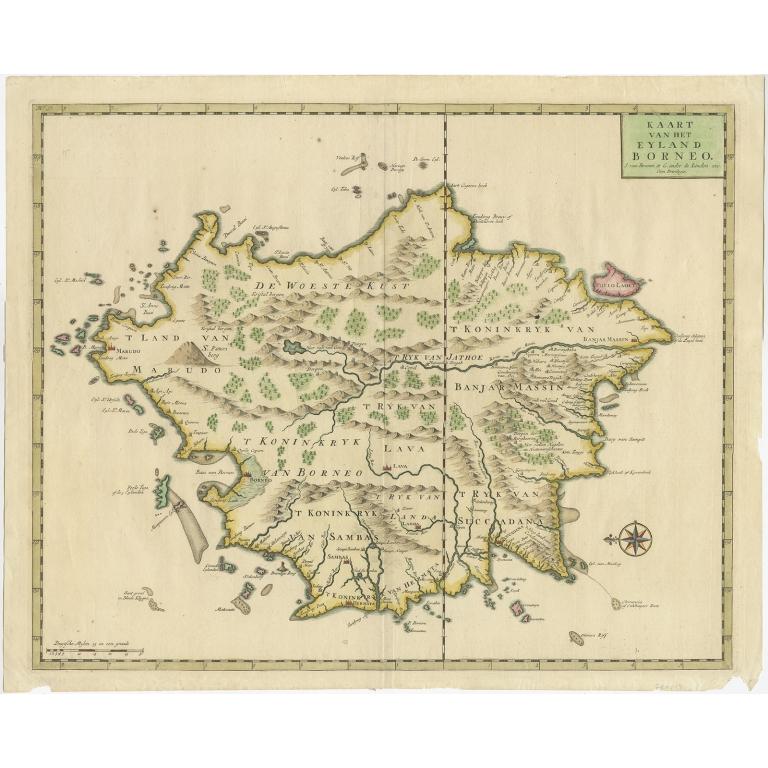 Kaart van het Eyland Borneo (Colored) - Valentijn (1726)