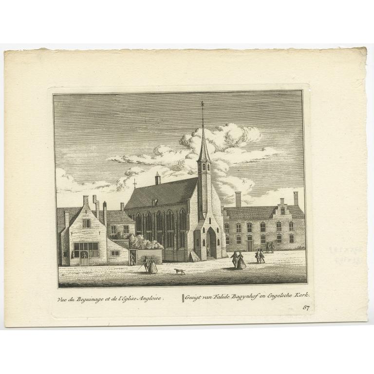 Gesigt van Falide Bagynhof en Engelsche Kerk -  Anonymous (c.1800)