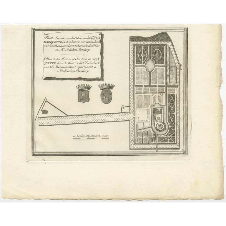 Platte Gront van het Huis en de Hofstede Marquette (..) - De Leth (c.1730)
