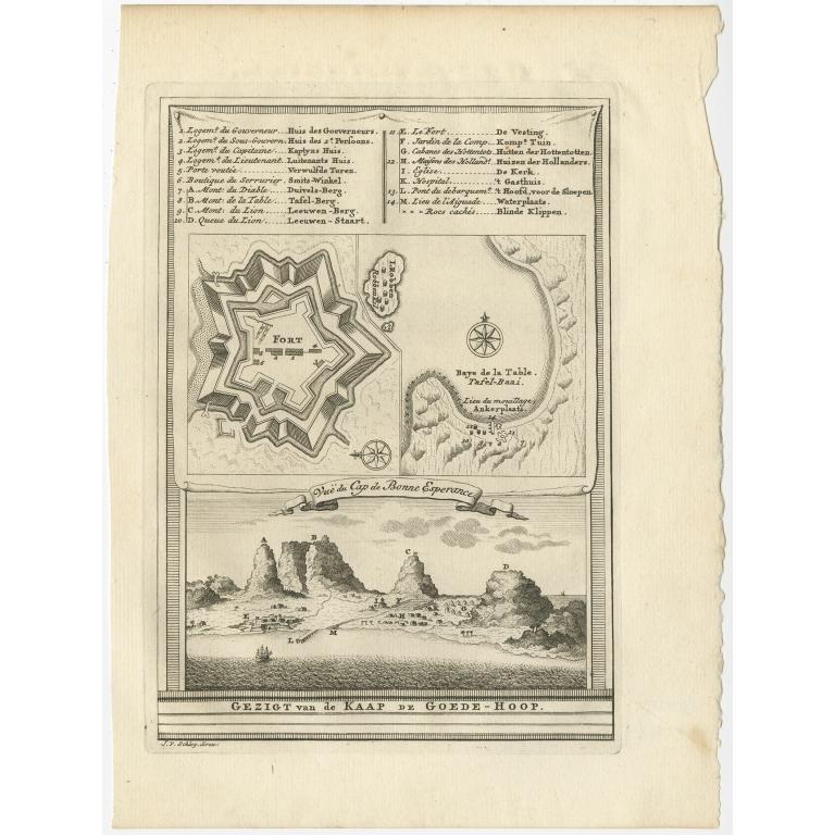 Gezigt van de Kaap de Goede-Hoop - Van Schley (c.1750)