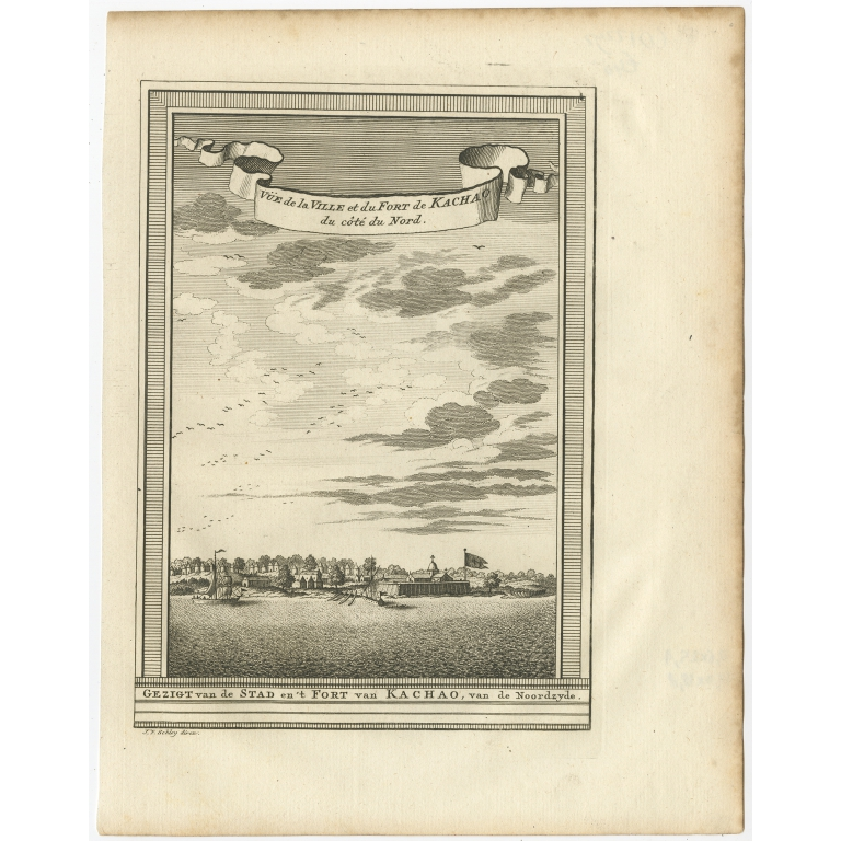 Gezigt van de Stad en 't Fort van Kachao - Van Schley (c.1750)