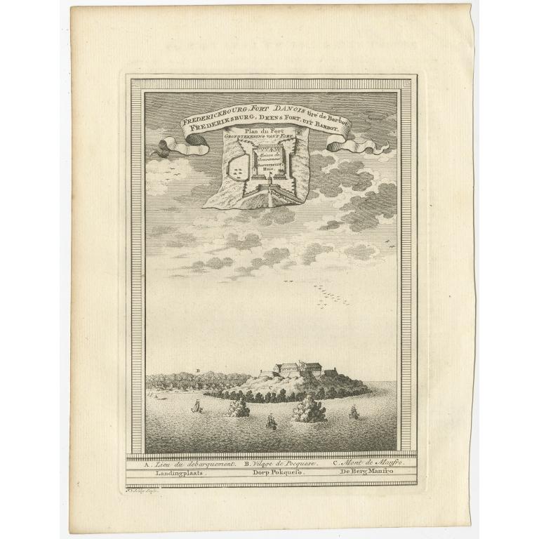 Frederiksburg, Deens fort, uit Barbot - Van Schley (c.1750)