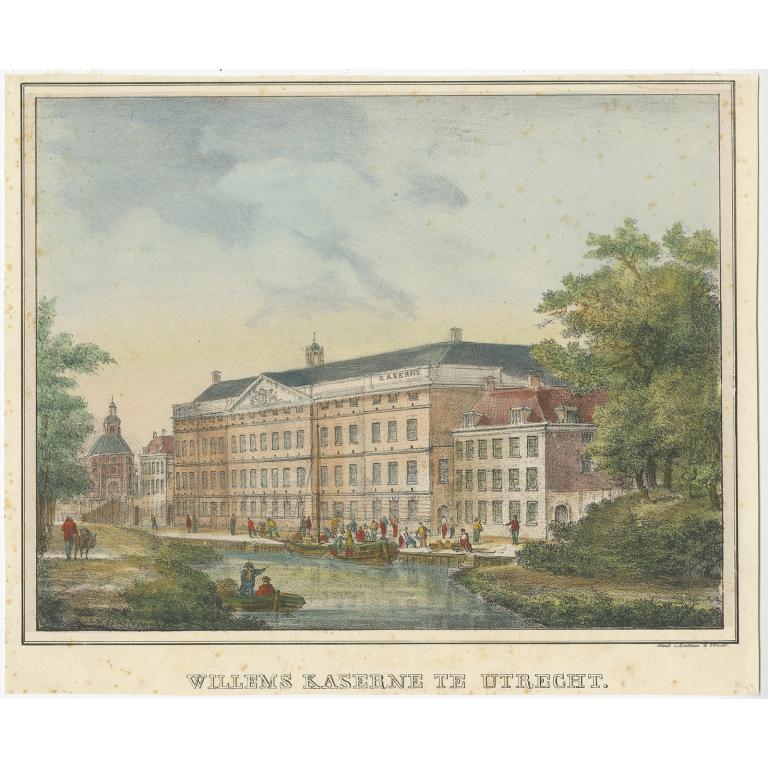 Willems Kaserne te Utrecht (colored) - Houtman (c.1830)