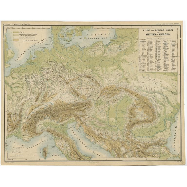 Fluss und Gebirgs Karte von Mittel-Europa - Kiepert (c.1870)