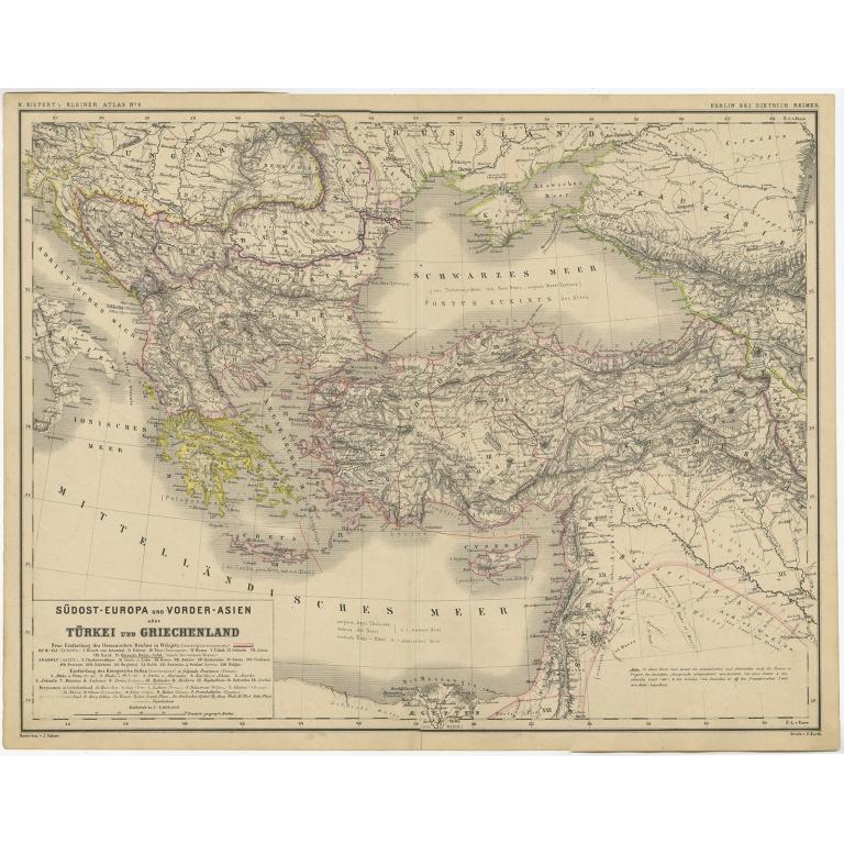 Südost-Europa und Vorder-Asien oder Türkei und Griechenland - Kiepert (c.1870)