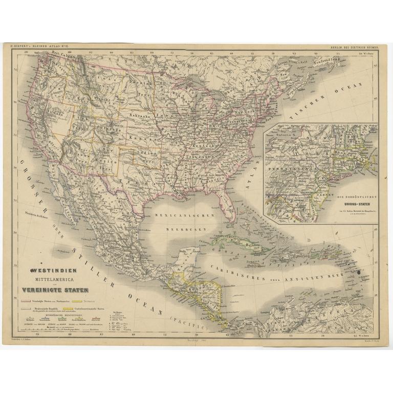 Westindien, Mittelamerica und Vereinigte Staten - Kiepert (c.1870)