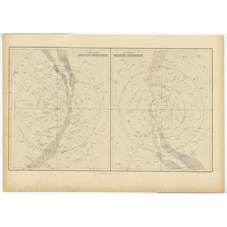 Northern Celestial Hemisphere - Southern Celestial Hemisphere - Black (1854)