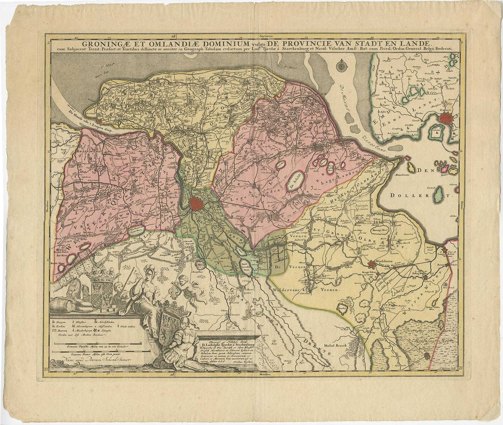 Antique Map of Groningen by Schenk (c.1700)