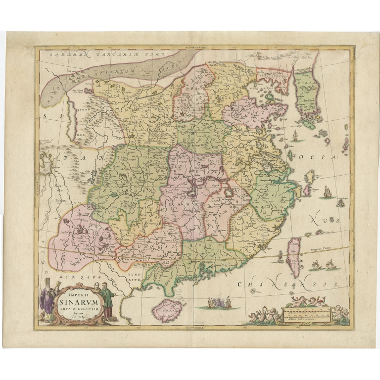 Antique Map of China and Korea by Janssonius (c.1650)