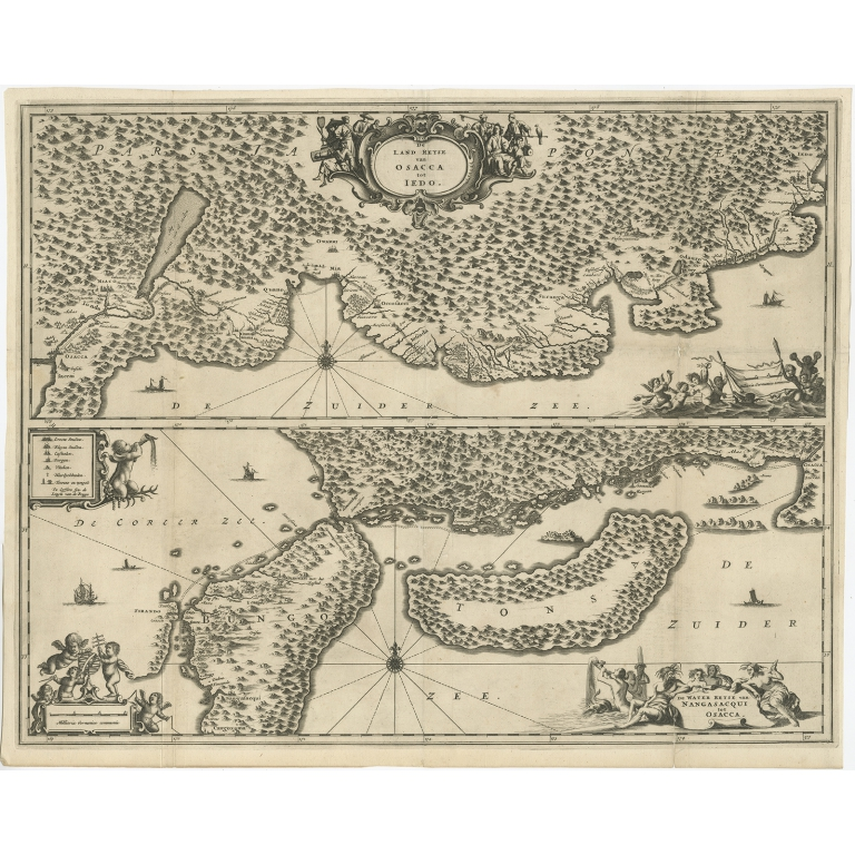 Antique Map of Osaka and the Japanese Coast by Montanus (1669)