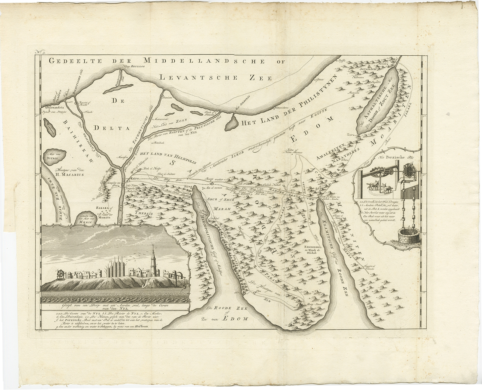 Antique Map of the Sinai Peninsula by Shaw (1773)